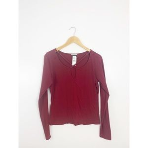 Contempo Casuals Red Strappy Long Sleeve Top